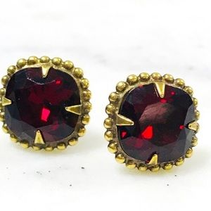 Sorrelli Ruby Red Crystal Cushion Cut Earring,NWT